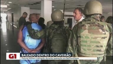PM atingido por bala dentro de blindado durante operação em Belford Roxo - Na Zona Norte do Rio, sesis suspeitos foram presos e oito barricadas foram removidas, em outra operação.