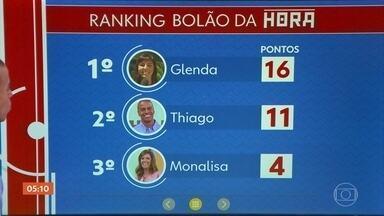 Bolão da Hora: Thiago Oliveira acerta o placar final do jogo Brasil x México - A partida terminou em 2 a 0 para o Brasil. Mas a Glenda continua em primeiro lugar no Bolão da Hora. Quer participar? Envie um vídeo com seu palpite para o VC no Hora 1.