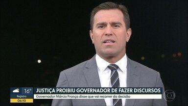 Justiça proíbe governador de SP de fazer discursos públicos - Multa pode chegar a R$ 5 mil por evento.