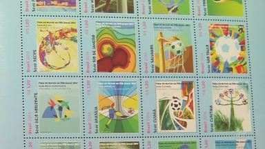 Selos comemorativos para a copa do mundo são confeccionados pelos Correios - Saiba mais em g1.com.br/ce