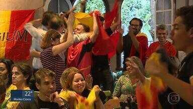 Belgas comemoram vitória sobre o Brasil em Belo Horizonte - Eles se reuniram em um bar da capital e comemoraram muito.