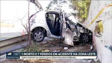 Uma pessoa morre e outras sete ficam feridas em um acidente na Zona Leste da capital - O carro transportava as oito pessoas que voltavam de uma festa. Um teste de bafômetro mostrou que o motorista estava alcoolizado.