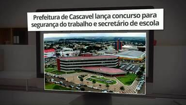 Prefeitura de Cascavel abre concurso público - Vagas são para segurança do trabalho e secretário de escola.