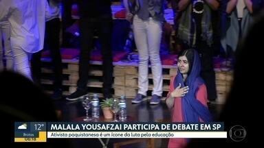 Ativista paquistanesa, Malala, participa de debate sobre educação, em SP - Foi a primeira vez que ela veio ao Brasil.