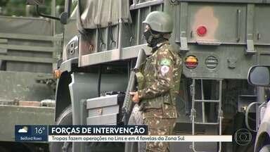 Forças da Intervenção fazem operações no Complexo do Lins e em 4 favelas da Zona Sul - Moradores relataram tiroteio quando as tropas chegaram. Mas o Exército nega confronto. Graja-Jacarepaguá chegou a ser fechada por 3 horas.