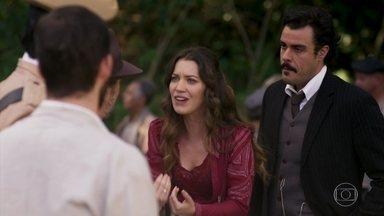 Elisabeta tenta defender Ernesto par ao delegado Kléber - Olegário pressente o pior e orienta Elisabeta a não falar mais nada com o policial corrupto
