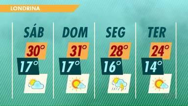 Meteorologia aponta chuva para a próxima segunda-feira (30) em Londrina - Fim de semana deve ser quente e ensolarado.