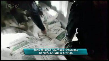 Drogas, armas e munição são apreendidas na BR-277 - A apreensão foi feita pela Polícia Rodoviária Federal em Santa Terezinha de Itaipu.