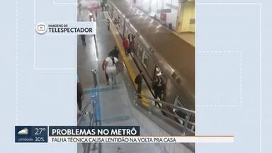 Problemas no metrô - A volta pra casa foi complicada para os passageiros no fim da sexta-feira. Telespectadores registraram lotação e demora. Assessoria do Metrô informou que um trem apresentou problemas técnicos e ficou parado entre as estações de Ceilândia e Guariroba