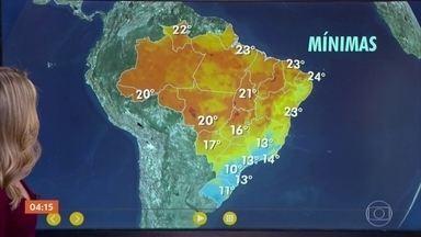 Previsão é de frio e garoa em São Paulo nesta quarta-feira (15) - No Sul do país, a meteorologia prevê geada. Pode chover no Norte do país. Envie suas perguntas, fotos e vídeos pelo VC no Hora 1.