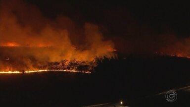 Incêndio de grandes proporções atinge as margens de rodovia de Araçatuba - Um incêndio de grandes proporções atingiu as margens da Rodovia Marechal Rondon, em Araçatuba (SP), no fim da tarde desta quarta-feira (15).