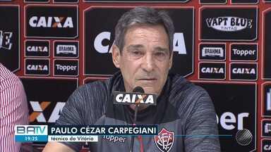 Futebol: Carpegiani faz o primeiro treino a frente do Vitória nesta quarta (15) - O rubro-negro baiano enfrenta o Palmeiras neste domingo (19), pelo Campeonato Brasileiro.