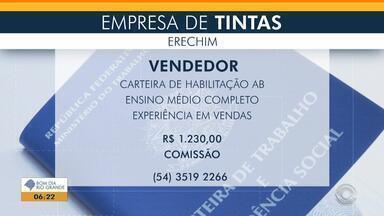 Empregos: empresa de tintas de Erechim seleciona vendedor - Veja mais detalhes.