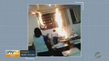 Estudantes ateiam fogo em sala de aula, em Escola Estadual de Limeira - Incidente aconteceu na Escola Estadual Professor Gustavo Piccini. Os alunos filmaram a ação.