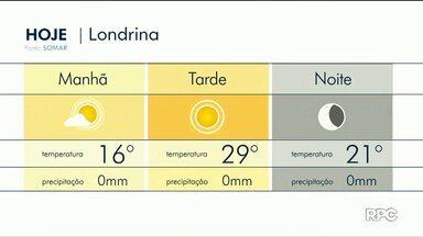 Temperaturas voltam a subir em Londrina - A máxima deve chegar próxima dos 30°