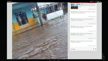 Tô na Rede: forte chuva alaga rua no bairro do Zerão, no AP - Internauta registra pelo aplicativo da Rede Amazônica, relatando que a Avenida Dom José Maritano, principal rua do comércio, fica totalmente alagada quando chove, ocasionando um transtorno aos moradores desse trecho