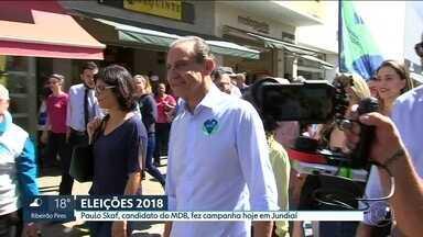 Paulo Skaf, candidato do MDB ao governo de São Paulo, fez campanha hoje, em Jundiaí - A cidade é a terra natal da vice-candidata a tenente-coronel Carla Basson.