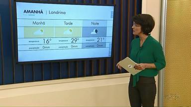Temperatura deve atingir 29 graus nesta terça-feira (21) - Semana segue com previsão de chuva mais para a metade sul do Paraná.
