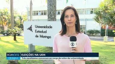 Três candidatos concorrem ao cargo de reitor da Universidade Estadual de Maringá - A eleição para a escolha do novo reitor da UEM começa nesta terça-feira (21), às 8h e vai até às 20h.