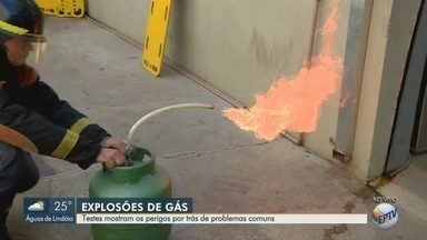 Testes com especialista mostram perigos de explosões de gás - Vazamento de gás provocou explosão em dois imóveis na região.