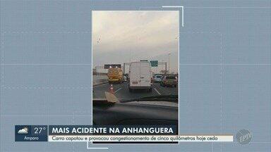 Carro capota e provoca 5 km de lentidão na Anhanguera, em Campinas - Acidente ocorreu no km 103, sentido interior, perto do entrocamento com a Rodovia Dom Pedro I.