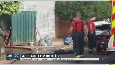 Saiba como evitar explosões e incêndios ao manusear botijões de gás - Idosa ficou ferida e casa foi destruída pelo fogo em Ribeirão Preto (SP).