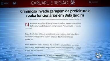 Criminoso invade garagem da prefeitura e rouba funcionários em Belo Jardim - Segundo a PM, o suspeito levou celulares, objetos pessoais das vítimas e um carro.