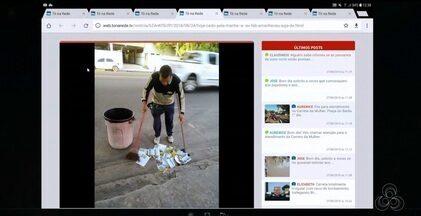 Tô na Rede: Moradores reclamam de vias que amanheceram sujas com panfleto eleitoral, no AP - Internauta registra momento em que morador recolhe o material de propaganda eleitoral jogado na rua, pelo aplicativo da Rede Amazônica