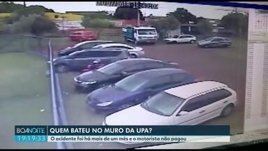 Câmeras flagram motorista batendo em mureta na UPA, em Foz - Acidente foi no mês passado.