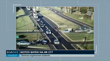 Motos batem no trevo de acesso ao bairro Cascavel Velho na BR-277 - Um dos motociclistas teve ferimentos leves e foi encaminhado a uma unidade de pronto atendimento.