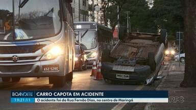 Carro capota no centro de Maringá - Ninguém ficou ferido.