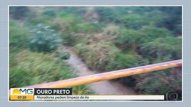 Moradora reclama de sujeira em rio do distrito de Amarantina, em Ouro Preto, em MG - Prefeitura disse que já pediu autorização para fazer a limpeza do Rio Maracujá.
