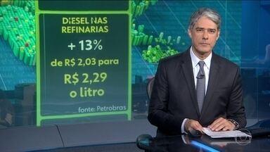 Petrobras anuncia reajuste de 13% no preço do diesel nas refinarias - É o primeiro aumento desde o acordo de junho, entre governo e caminhoneiros. Segundo a empresa, o reajuste reflete o aumento do combustível no mercado internacional e a alta do dólar.
