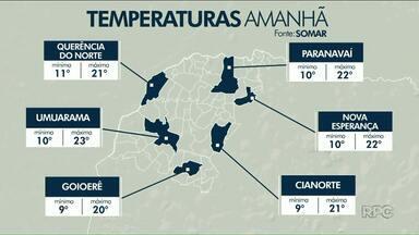 Mínima deve ser de apenas 9 graus em Cianorte e Goioerê nesta terça - As temperaturas continuam baixas no Noroeste até a próxima quinta-feira, 6.