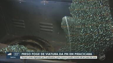 Preso quebra vidro de viatura policial e foge algemado, em Piracicaba - Homem correu algemado por 2 quilômetros, pulou muros e invadiu imóveis até ser preso de novo.
