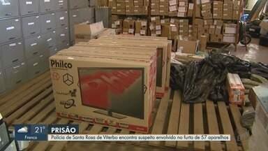 Polícia prende um dos suspeitos no furto de 57 TVs em Santa Rosa de Viterbo, SP - Delegado fala sobre as investigações.