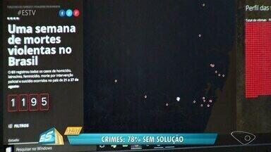 Monitor da Violência mostra retrato da violência no ES e no país - Levantamento do G1 mostra que apenas 5 dos 28 casos registrados no Espírito Santo, de 21 a 27 de agosto de 2017, foram concluídos e enviados à Justiça.