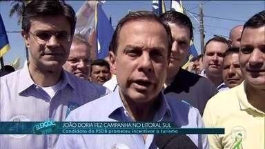Candidato do PSDB João Doria faz campanha em cidades do litoral sul - O candidato do PSDB João Doria fez campanha no litoral sul. Ele prometeu incentivar o turismo.