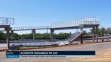 Trânsito na PR-445 é interditado após queda de parte de passarela em Londrina - Na madrugada de sábado (7) um carro bateu em um pilar de sustentação da passarela. O motorista morreu no local.