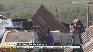 Famílias voltam a ocupar área do Horto Florestal de Limeira - Prefeitura faz novo pedido de reintegração à Justiça.
