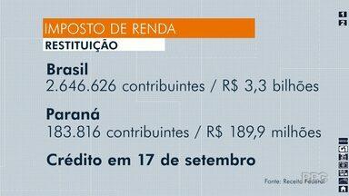 Receita Federal libera consulta ao 4º lote de restituição do Imposto de Renda - Ao todo no Paraná 183.816 contribuintes devem receber R$ 189,9 milhões.