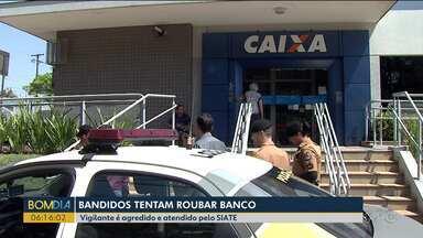 Bandidos tentam roubar banco em Londrina - Um vigilante foi agredido e atendido pelo SIATE.