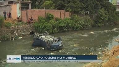 Carro cai em igarapé durante fuga de suspeitos de assalto em Manaus - Caso ocorreu no bairro Mutirão.