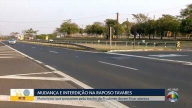 Rodovia Raposo Tavares passa por modificações nesta quinta-feira - Haverá interdição de um trecho e também o fechamento de um cruzamento.