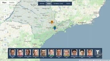 Confira agenda dos candidatos ao governo do estado nesta quinta-feira - Mapa mostra onde candidatos fizeram campanha.