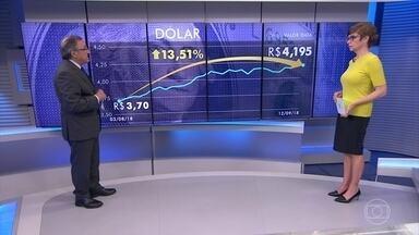 Dólar bate recorde e chega a valer R$ 4,195 - Carlos Alberto Sardenberg afirmou que a inadimplência aumentou no mês de agosto, chegando aos 63 milhões de inadimplentes. Para ele, as questões envolvendo as eleições influenciaram na alta do dólar.