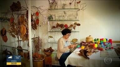 Quadro Verde: Artista de SP transforma folhas secas em decoração - Bordadeira trabalha transformando folhas caídas de árvores em arte.