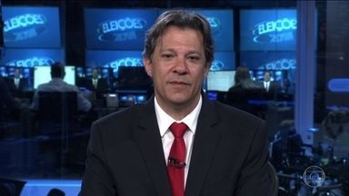 Fernando Haddad (PT) é entrevistado no Jornal Nacional - O candidato do PT à Presidência é entrevistado ao vivo, na bancada do JN, por William Bonner e Renata Vasconcellos.