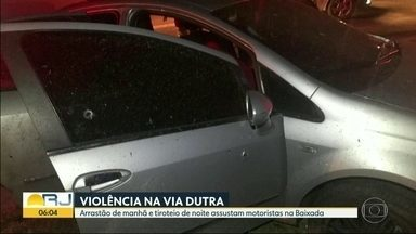 Bandidos fizeram arrastão na Rodovia Presidente Dutra neste domingo (16) - Motoristas voltaram na contramão com medo de serem assaltados.