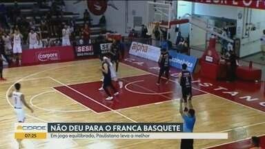 Franca Basquete perde para o Paulistano pelo Campeonato Paulista - Próxima partida acontece nesta quinta-feira (20) no Ginásio Pedrocão.